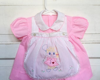Vintage bubblegum pink baby dress with embroidery and apron - retro baby dress size 3/6M