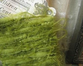 Soft Mossy Green Eyelash Yarn Trim Scrapbook Junk Journal Tags Embellishments Mixed Media Craft Supplies
