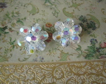 Sparkling Vintage Crystal Beads Clip On Earrings