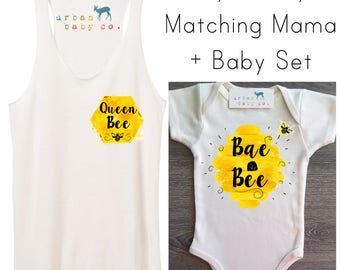 Queen Bee, Bae Bee, Honey, Matching Set, Outfit, Tank, Top, Shirt, Tee, Racerback, Organic, Ecofriendly, One Piece, Bodysuit, Layette