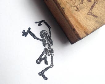 Destash Wooden Rubber Stamp skeleton steampunk pirate