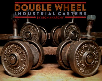 Antique Industrial Casters, Vintage Factory Cart Wheels
