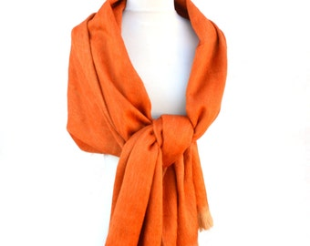 orange alpaca scarf, long wool scarf, warm winter scarves, baby alpaca shawl, long winter scarves, soft wool shawls