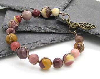 Mookaite Bracelet, Gemstone Jewellery, Wire Wrap Bracelet, Earth Tone Bracelet, Mookaite Jewellery, Chunky Bracelet, Antique Bronze Handmade