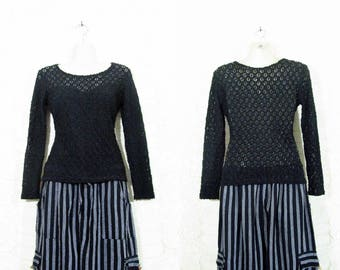 Vtg 90s Open Knit Sweetheart Gothic Long Sleeve Grunge Witchy Top