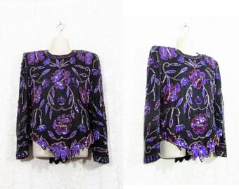 Vtg 80s Asymmetric Sequin Beaded Disco Silk Blouse by Laurence Kazar sz M