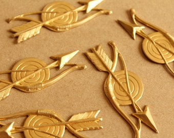 2 pc. Large Raw Brass Archery Stampings, Arrow, Bow, and Target: 60mm by 21mm - made in USA | RB-1030