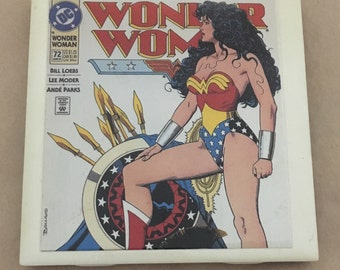 Wonder Woman Coaster. Upcycled from comic book. Water and heat resistant. Great for Justice League fans!