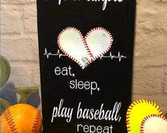 Life is Simple, eat, sleep, play softball, repeat, Baseball/Softball Sign Decor, Inspirational Quote, Baseball Heart Yellow Softball