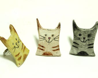 Handmade ceramic adjustable cats ring, personalized ring, handmade modern ring, ceramic jewelry, sculpture ring, art to wear jewelry
