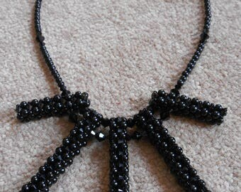 Sparkly Black Swarovski Crystal and Pearl Beaded Stick Necklace