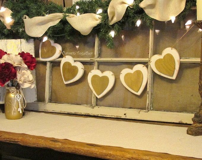 Valentine's Day Heart Banner, Rustic Wood Hearts, Ivory Metallic Gold Valentine Banner, Valentine Decoration, Farmhouse Decor Heart Banner