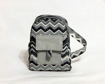 18-inch doll backpack, doll bag - Gray toned Chevron