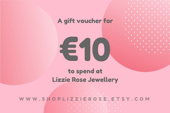 10, 20, 30 euros jewellery gift voucher Mother's Day, Valentines, Birthday, Thank you gift certificate coupon evoucher