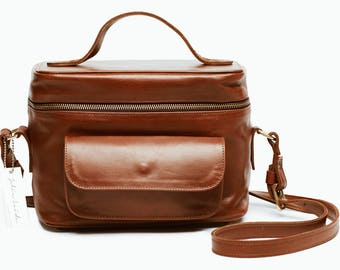 The Weekender Camera bag Brown Leather Camera Bag, Photography Bag,  Womens Camera Bag, Leather Camera Bag, dslr camera bag,