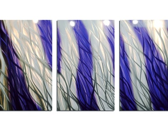 Metal Wall Art Abstract Aluminum Sculpture Modern Decor - Reef Purple Blue 47