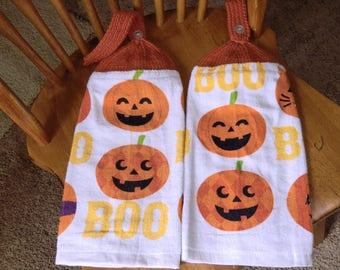 Halloween - Smiling Pumpkins & BOO Knit Top Kitchen Towels