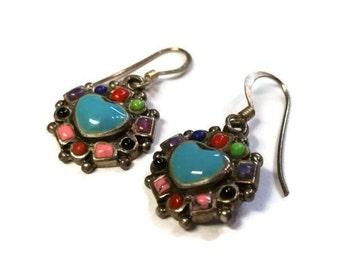 Vintage Sterling Silver Heart Multi Colored Dangle Earrings