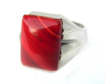 Franklin Mint Ring Sterling Red Jasper Glass FM Signed 925 Vintage Estate Jewelry Gift For Men Or Women Large Statement Ring Size 10