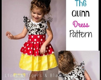 30% OFF Sale Girls Quinn Dress - PDF Sewing Pattern Sizes 3 months - big girl 12  Instant Download printable