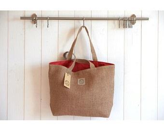 basket bag in rustic burlap lined linen coated geranium