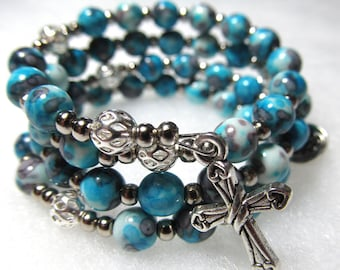 Rosary bracelet, turquoise & violet color ceramic beads, silver color metallic beads, 5 decade Rosary bracelet, Five decade bracelet, 191