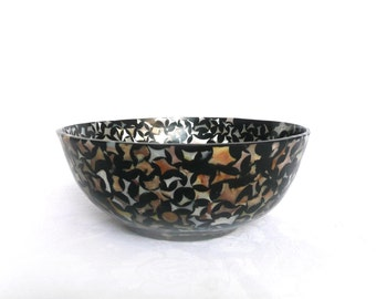 Vintage shell bowl - shell and mother of pearl bowl - vintage lacquered black shell and mother of pearl bowl