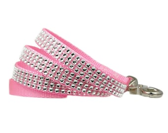 "Rhinestone Dog Leash 5/8"", 3/4"" or 1"" 4' Pink or Purple Dog Leash"