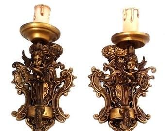 SALE Antique Pair of Brass Cherubs Wall Sconces, Pair of Gilt Brass Wall Sconces with 2 Cherubs and Crowns ,France wall sconces lights.