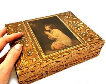 "SALE Vintage Large Florentine Jewelry Box ""Praying Child "",Florentine Gilded Wooden trinket box,jewelry Gilded box"