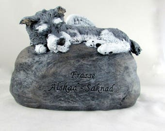 Ceramic Engraved Miniature Schnauzer Painted Bottom Loading Cremation Urn - hand made pet urn