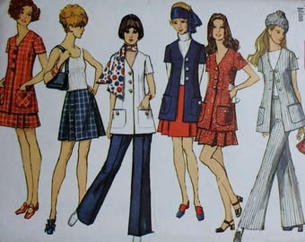 1960s Unlined Jacket/ Pants/ Mini Skirt Sewing Pattern / Simplicity 8600 Sewing Pattern/ Bust 38