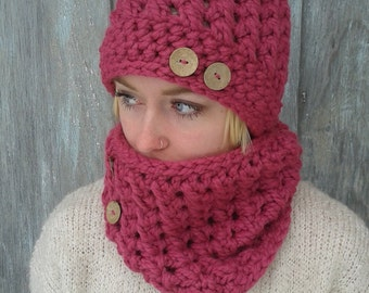 Hat and Cowl Set/Wool Blend/Winter set/Cozy Winter Hat and Cowl/Color Bright Pink