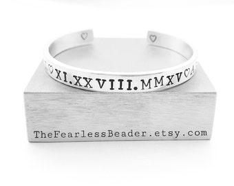 Roman Numerals Bracelet, Personalized, Unisex Bracelet, Roman Numerals, Birthdate, Anniversary, Mens Bracelet, Mens Cuff, Roman Numerals