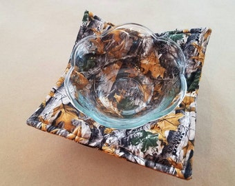 Camoflage Microwave Bowl Cozy, Reversible Microwave Potholder, AP Camo Bowl Holder, Timber Camo, Hunter, Hunt Lodge, Man Cave, Country Cabin