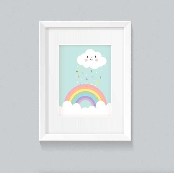 Adorable Pastel Baby Girl Playroom Nursery Rainbow with Clouds and Rain Kawaii Soft and Cute Background Print - Digital Instant Download
