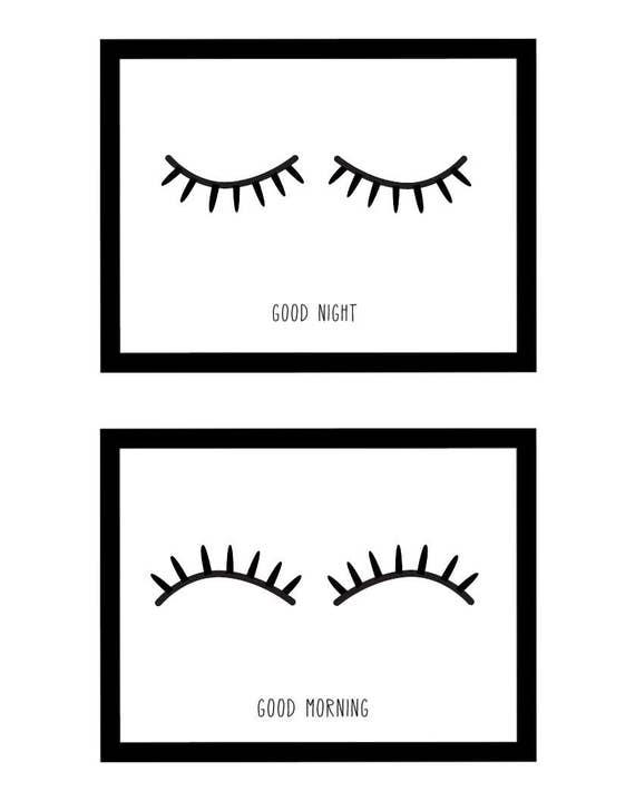 Set of 2 Good Night - Good Morning Eyelashes Modern Hipster Style Nursery Art Illustration Print - Digital Instant Download