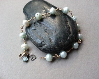 Pale Blue Freshwater Pearl Bracelet, Brass Rosary Chain Beaded Links, Apatite Gemstone Dangle, Sterling Silver Heart Charm, Boho Mixed Metal