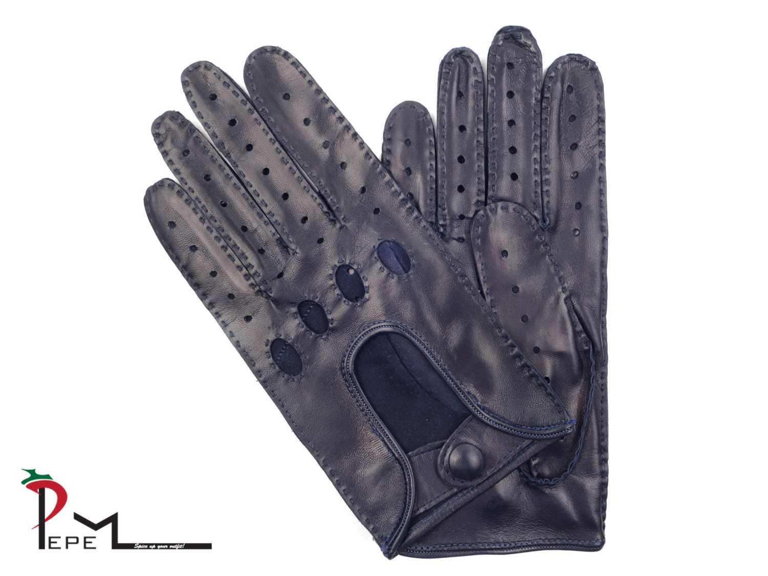 Men 39 S Navy Blue Lambskin Leather Driving Gloves By Pepemoda