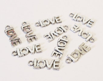 """5 x Charm Pendants """"Love"""" Message Antique Silver 21x8mm"""