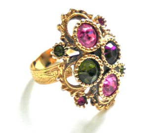 Sarah Coventry Austrian Lites  Vintage 1973 Big Rhinestone Statement Ring