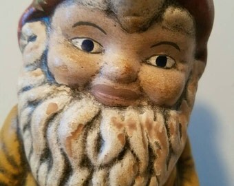 gnome needs a home - jolly garden gnome, spring lawn decor,  vintage statuette, 13 inches