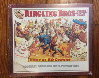 Clown Poster Ringling Bros army of 50 clowns vintage circus memorabilia print shrink wrapped on board