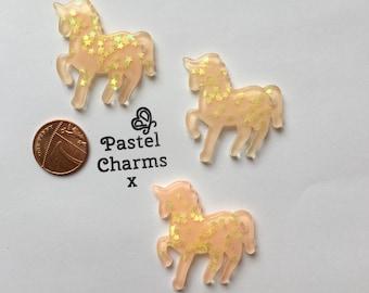 Pack of 2 resin unicorn embellishments peach & gold stars x