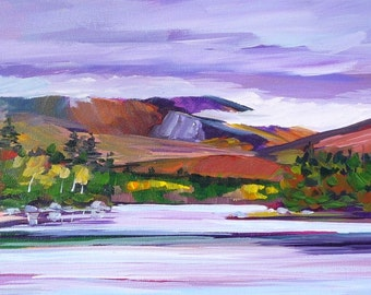 Maine Mountain Landscape Painting Katahdin Lake 1-10