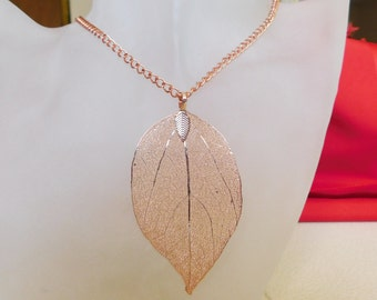 Copper Leaf Necklace , Autumn Necklace , Leaf Pendant , Fall Jewelry