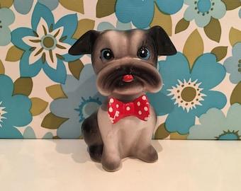 Vintage Pug Bulldog Kitsch China Animal Figurine Dog Puppy
