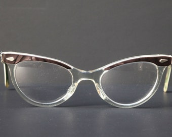 Vintage Womens Glasses BROW HORNRIM CATEYE Rx Prescription Eyewear  Dark Brown and Clear