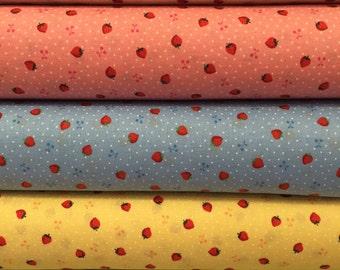 Lecien Retro 30's Child Smile Bundle - Reproduction Fabric - Tiny Strawberries