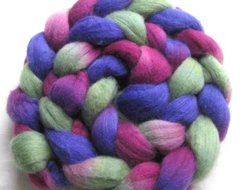 Polwarth and Tussah Silk Hand Painted Fiber 4 oz. Blue-Violet Green Merlot